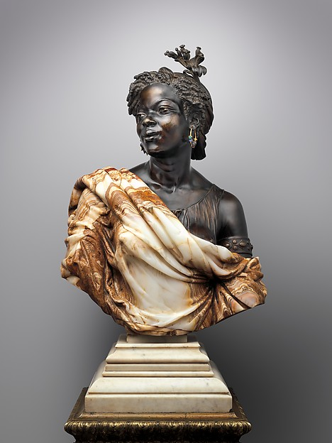 La Capresse des Colonies, Charles-Henri-Joseph Cordier (French, 1827–1905), Algerian onyx-marble, bronze and gilt bronze, and enamel; white marble socle, French, Paris