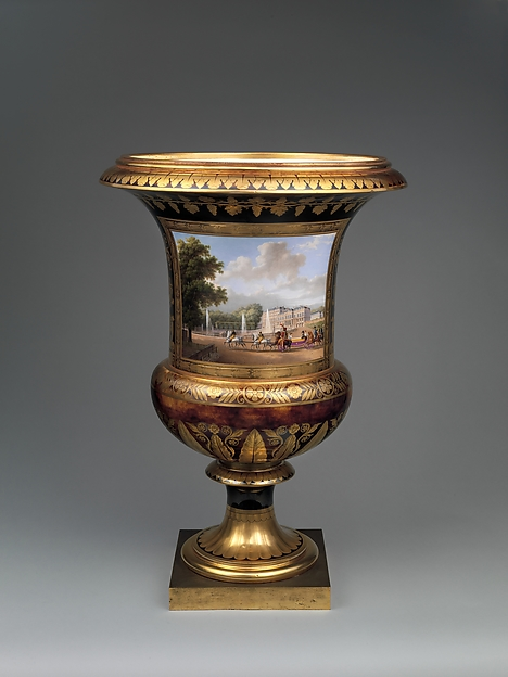 Medici vase with a scene of the château at Saint-Cloud (one of a pair), Sèvres Manufactory (French, 1740–present), Hard-paste porcelain, gilt bronze, French, Sèvres