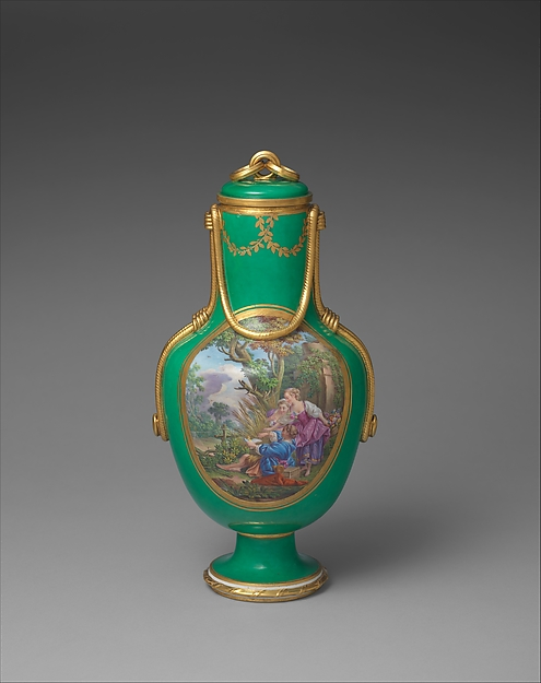 Vase with cover (vase à flacon) (one of a pair), Sèvres Manufactory (French, 1740–present), Soft-paste porcelain, French, Sèvres