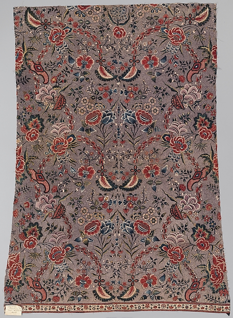Panel, Cotton, drawn and painted resist and mordant, dyed, Indian, Coromandel Coast, for European market