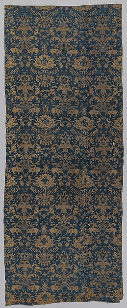 Textile with elephants, crowned double headed eagles, and flowers, Silk damask, Chinese, Macao, for Iberian market