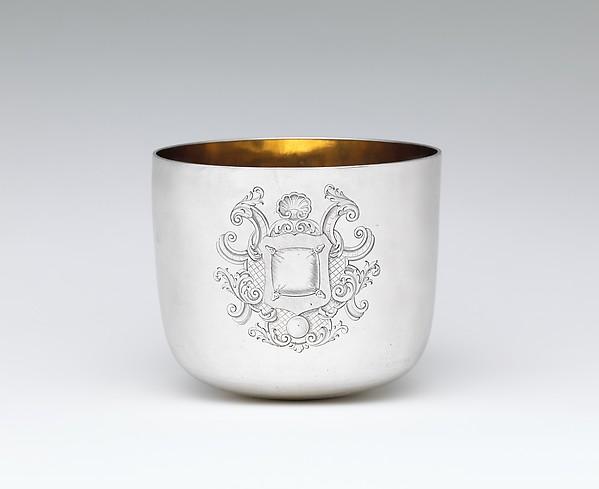 Tumbler cup, Joseph Ward (active 1689–1734), Silver, gilded interior, British, London