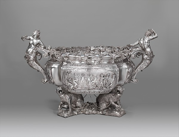 Wine cistern, After an original by Charles Frederich Kandler (active 1735, died 1778), Silver on base metal (copper and brass), British, Birmingham, after British, London original