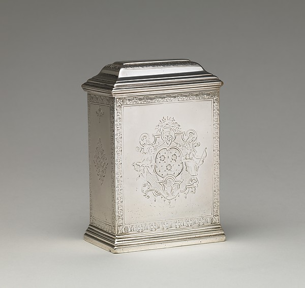 Tea caddy (one of a pair), Augustin Courtauld (British, 1685–1751), Silver, British, London