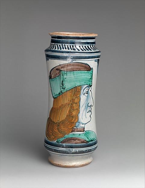 Pharmacy jar (albarello), Maiolica (tin-glazed earthenware), Italian, probably Naples or environs