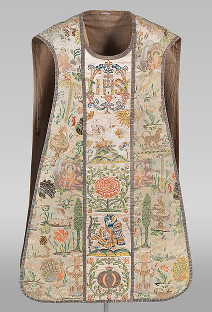 Chasuble, Silk satin, brocaded with chenille and silk; Orphrey: silk satin, embroidered with silk and metal-wrapped thread, Portuguese