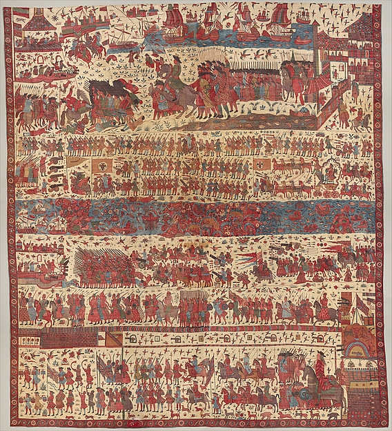 Hanging depicting a European conflict in South India, Cotton, plain weave (drawn and painted resist and mordant, dyed), Indian, Coromandel Coast, for British market