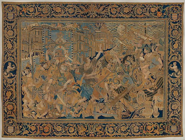 The Abduction of Helen from a set of The Story of Troy, Cotton, embroidered with silk and gilt-paper-wrapped thread, pigment, Chinese, Macao, for export market