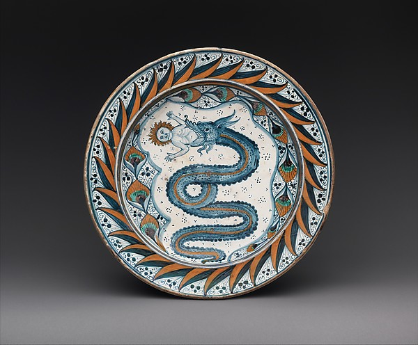 Dish with arms of the Visconti family, Maiolica (tin-glazed earthenware), Italian, probably Deruta