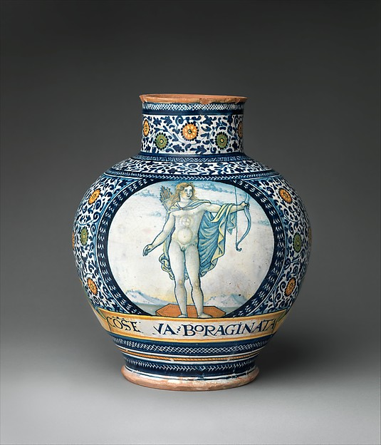 Pharmacy jar with the Apollo Belvedere and King David, Figure of Apollo Belvedere based on an engraving by Nicoletto da Modena (Italian, Modena, active ca. 1500–ca. 1520), Maiolica (tin-glazed earthenware), Italian, possibly Castelli