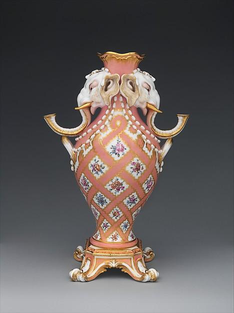 Vase (vase à tête d'éléphant) (one of a pair), Sèvres Manufactory (French, 1740–present), Soft-paste porcelain, French, Sèvres