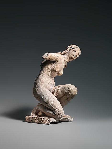 Crouching Flora, Jean-Baptiste Carpeaux (French, Valenciennes 1827–1875 Courbevoie), Terracotta, French, Paris