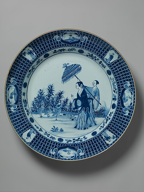 Plate depicting a lady with parasol, After a design by Cornelis Pronk (Dutch, Amsterdam 1691–1759 Amsterdam), Hard-paste porcelain painted with cobalt blue under transparent glaze (Jingdezhen ware), Chinese, for Dutch market