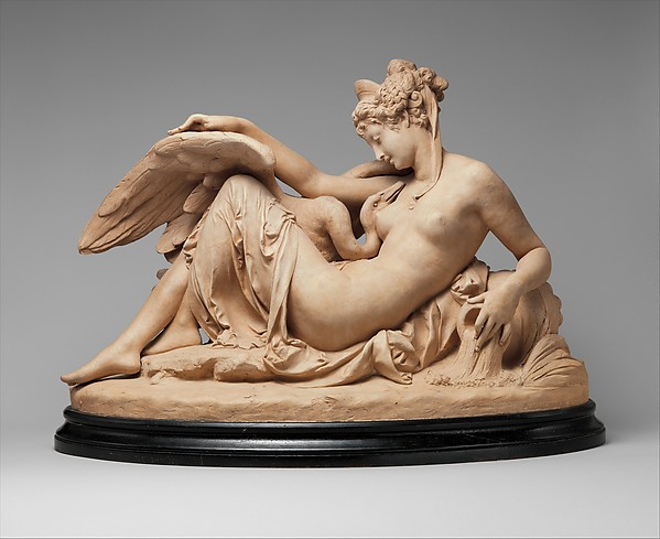 Leda and the Swan, Albert-Ernest Carrier-Belleuse (French, Anizy-le-Château 1824–1887 Sèvres), Cast terracotta, French, Paris