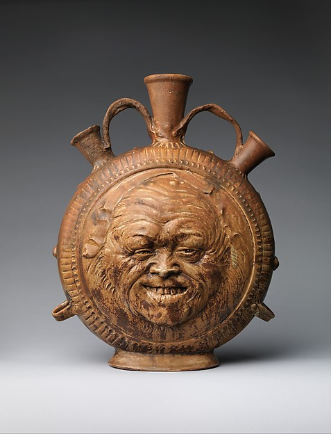 Flask with face, Jean-Joseph Carriès (French, Lyons 1855–1894 Paris), Glazed stoneware, French, Saint-Amand-en-Puisaye