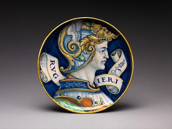 Shallow bowl with Ruggiero, Maiolica (tin-glazed earthenware), Italian, possibly Urbino