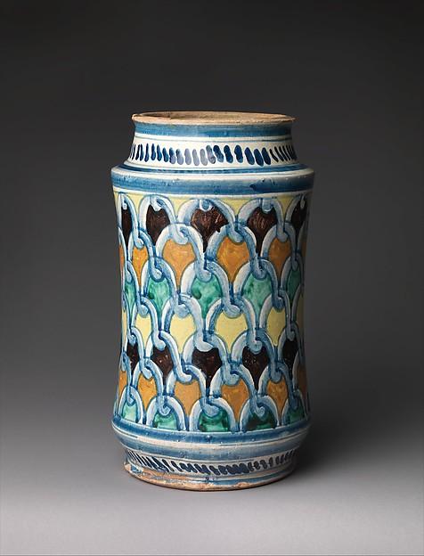 Storage jar (albarello), Maiolica (tin-glazed earthenware), Italian, perhaps Naples or environs