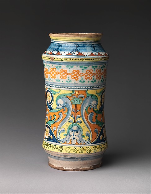 Albarello, Maiolica (tin-glazed earthenware), Italian, Siena