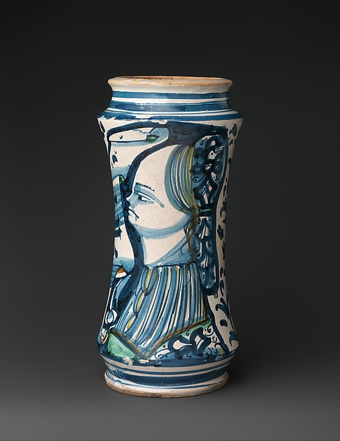 Pharmacy jar (albarello), Maiolica (tin-glazed earthenware), Italian, probably Naples district or Vietri sul Mare