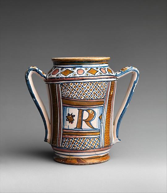 Two-handled vase, Maiolica (tin-glazed earthenware), lustered, Italian, probably Gubbio