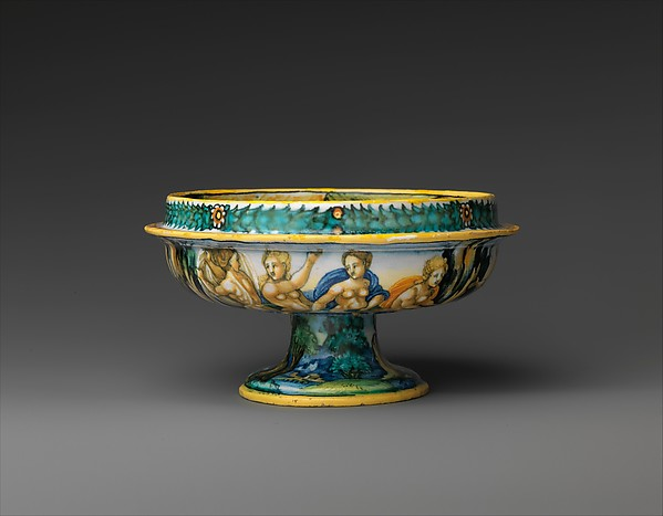 """Bowl from a birth set with birth scene and Diana and Actaeon, Perhaps the """"Milan Marsyas"""" Painter, Maiolica (tin-glazed earthenware), Italian, Urbino"""