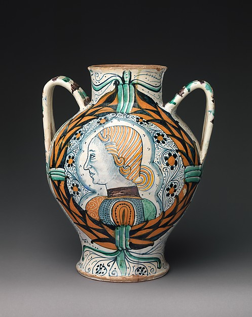 Two-handled pharmacy or storage jar with arms of the Orsini family and profile head of a man, Maiolica (tin-glazed earthenware), Italian, probably Deruta