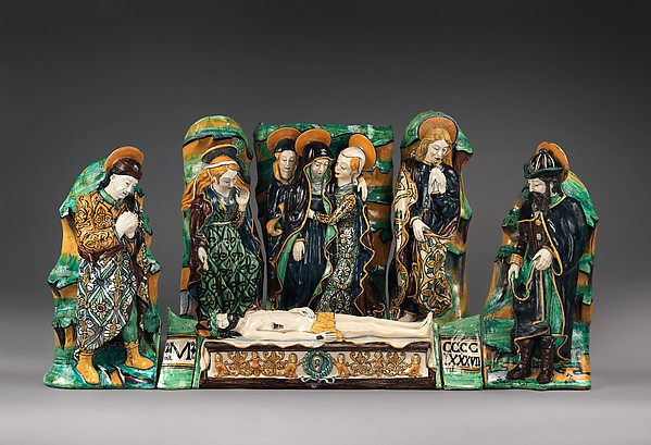 Sculptural group with The Lamentation Over the Dead Christ, Maiolica (tin-glazed earthenware), Eastern Central Italian, Emilia-Romagna or the Marche