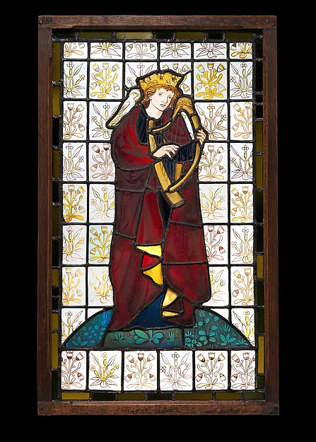 King David the Poet, Figure designed by Sir Edward Burne-Jones (British, Birmingham 1833–1898 Fulham), Stained glass, British, London