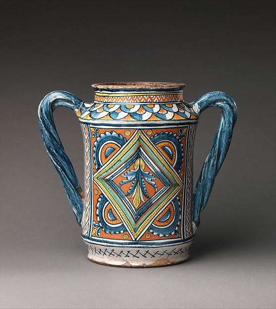 Storage jar (albarello), Maiolica (tin-glazed earthenware), Italian, Umbria, probably Deruta