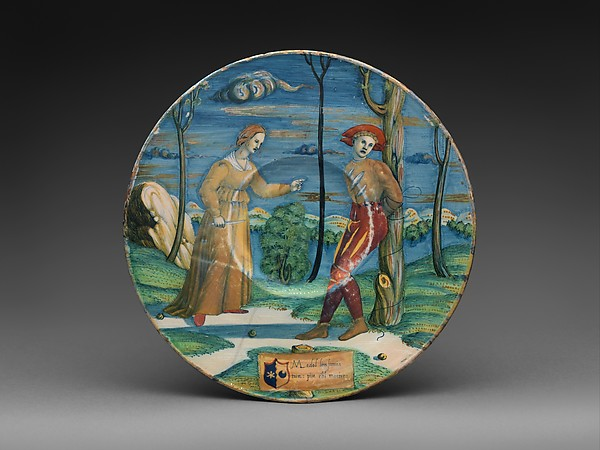 Plate with The Lover Tormented, Probably workshop of Maestro Giorgio Andreoli (Italian (Gubbio), active first half of 16th century), Maiolica (tin-glazed earthenware), lustered, Italian, Gubbio