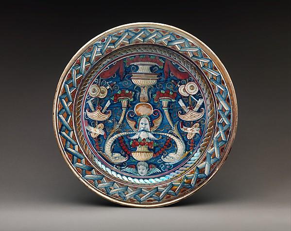 Dish, Workshop of Maestro Giorgio Andreoli (Italian (Gubbio), active first half of 16th century), Maiolica (tin-glazed earthenware), lustered, Italian, Gubbio