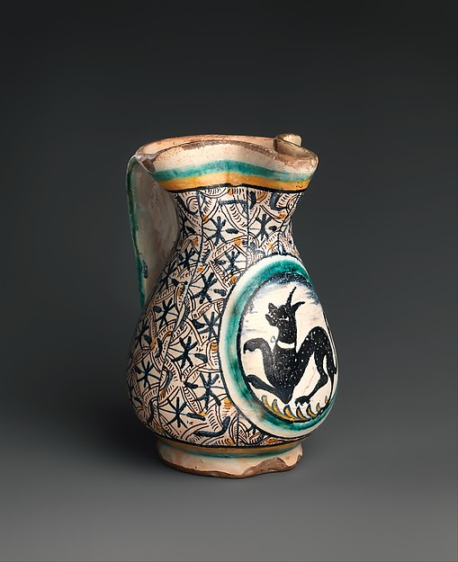 Jug, Maiolica (tin-glazed earthenware), Italian, Florence or environs (probably Montelupo)