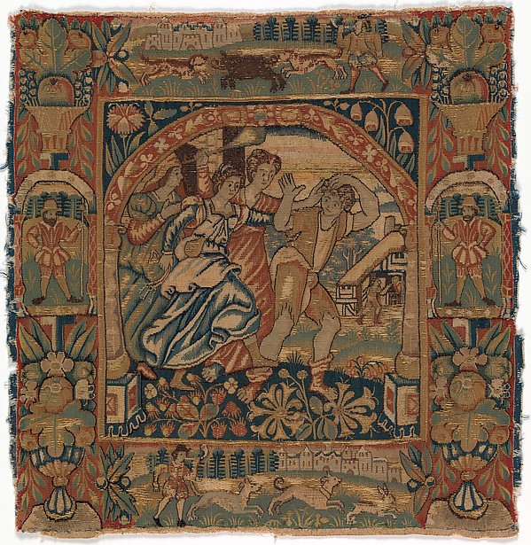 """""""The Prodigal Son Driven Out by Harlots"""" from a set of six of The Parable of the Prodigal Son, Attributed to an Anonymous Workshop, British  , London, Silk, wool (22 warps per inch, 10 per cm.), British, probably London"""