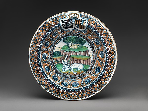Bowl with The Virgin and the Unicorn and arms of Matthias Corvinus and Beatrice of Aragon, Maiolica (tin-glazed earthenware), Italian, Pesaro
