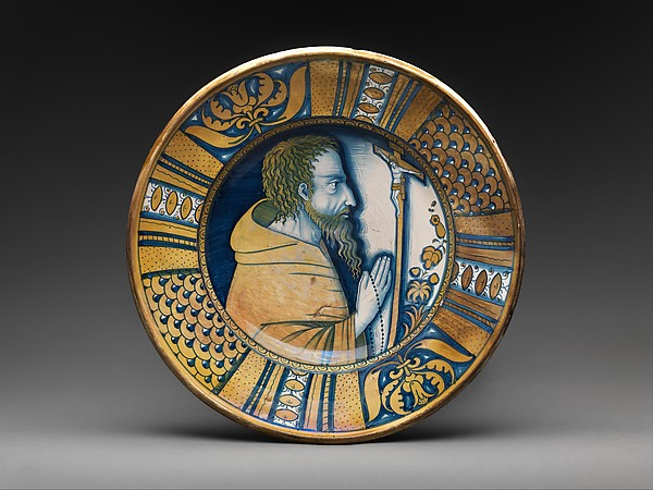 Dish with saint (Saint Francis?) or friar praying before crucifix, Maiolica (tin-glazed earthenware), lustered, Italian, Deruta