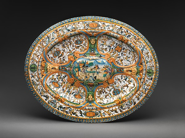 Basin or dish with The Gathering of Manna, Probably workshop of Antoine Conrade and his family, Maiolica (tin-glazed earthenware), probably French, Nevers
