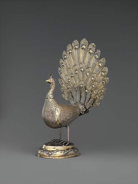 Table decoration in the form of a peacock, Silver, partly gilded, Hungarian, Munkács