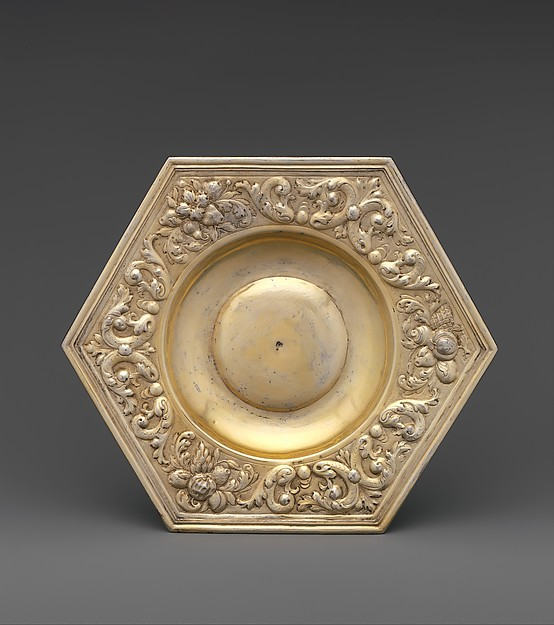 Hexagonal dish (part of a set), Paulus Roth (active 1646–89), Gilded silver, Hungarian, Brassó