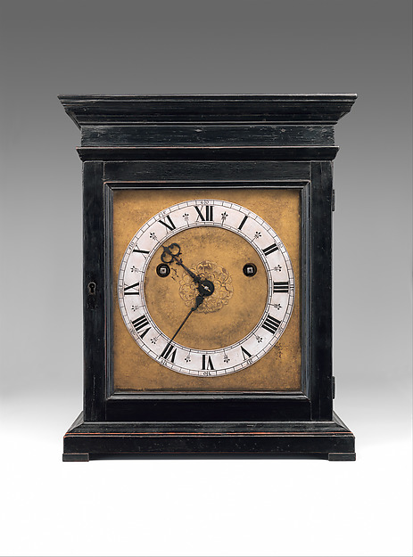 Table or bracket clock, Clockmaker: Edward East (British, 1602–1697), Case: ebonized fruitwood and rosewood with ebony moldings; Dial: gilded brass and silver; Movement: brass and steel, British, London