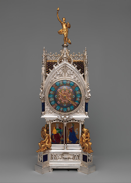 Table clock with calendar, Case and enamel design by the Firm of Lucien Falize (French, Paris 1839–1897 Paris), Silver, partly enameled gold, hardstones, rock crystal, amethysts, and diamonds, French, Paris