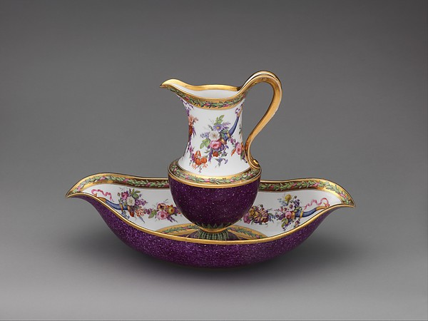 Ewer and basin, Sèvres Manufactory (French, 1740–present), Hard-paste porcelain, French, Sèvres