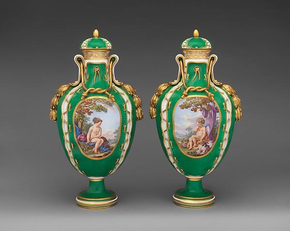 Pair of vases (vases cuir), Sèvres Manufactory (French, 1740–present), Soft-paste porcelain, gilt bronze, French, Sèvres