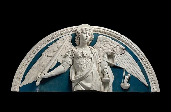 Saint Michael the Archangel, Andrea della Robbia (Italian, 1435–1525), Glazed terracotta, Italian, Florence
