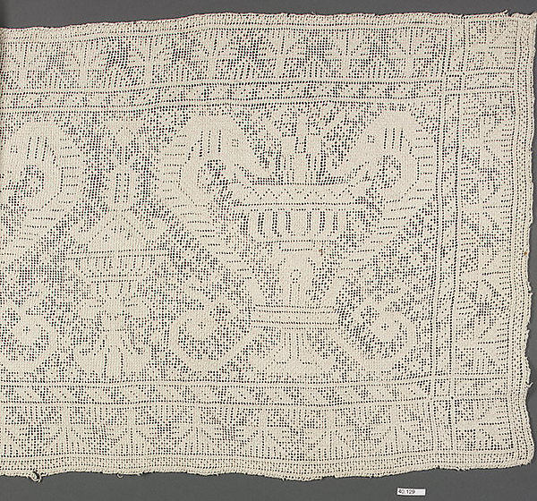 Panel, Embroidered net, Spanish or Moroccan