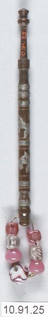 Bobbin, Wood, metal and beads, British, Buckinghamshire
