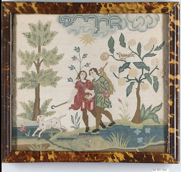 Embroidered picture with hunting scene, Silk and metal thread on canvas, British