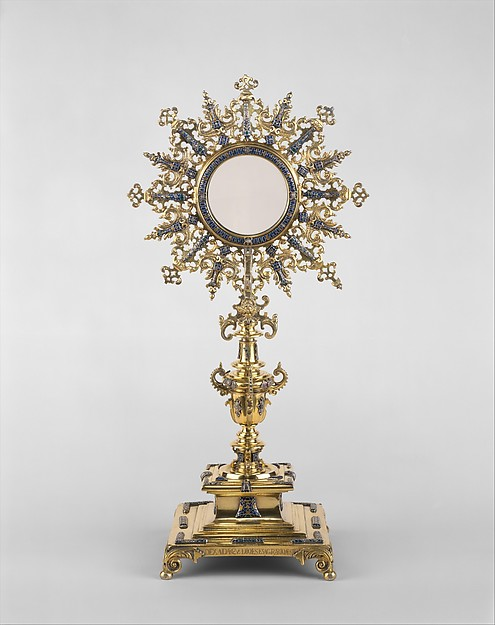 Monstrance, Attributed to Diego de Atienza (Spanish (Guadalajara), active in Lima, mid-17th century), Silver gilt with enamel, cast, chased, and engraved, Peruvian, probably Lima