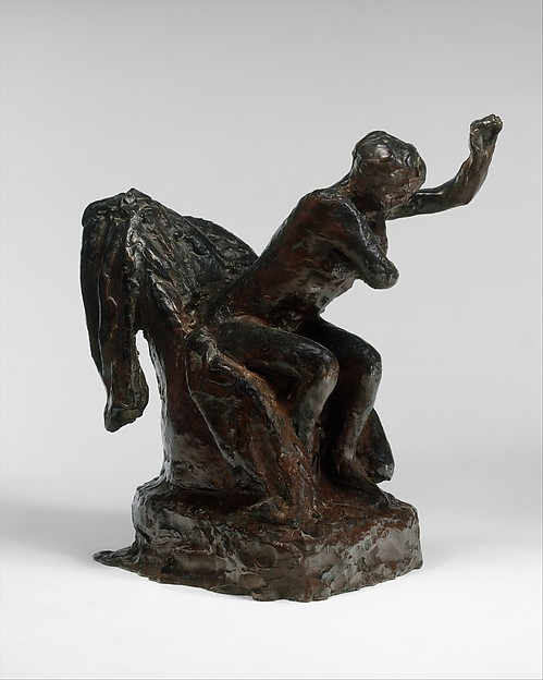 Woman Seated in Armchair Wiping Her Left Armpit, Edgar Degas (French, Paris 1834–1917 Paris), Bronze, French