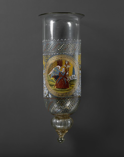 Sanctuary lamp (Cesendello), Glass, enameled and gilt, Italian, Venice (Murano)