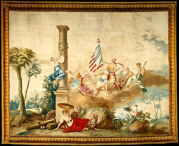 America from a set of The Four Continents, Jean Jacques François Le Barbier (French, Rouen 1738–1826 Paris), Wool, silk (19-21 warps per inch, 8 per cm.), French, Beauvais